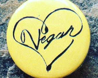 Vegan Badge, Pin Badge, Animal Lovers, Vegan Gifts, Cute vegan badge, 25mm