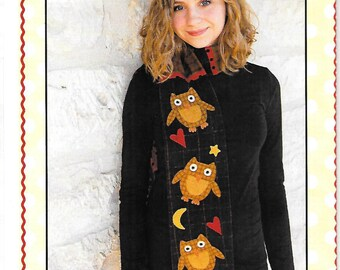 Owl Scarf and mittens Sewing Pattern, by Buttons & Bees, new Uncut Scarf and Mittens pattern, Free US Shipping