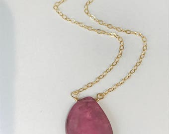 Raw Sapphire Necklace Pink Sapphire Necklace Gemstone Necklace Sapphire September Birthstone Genuine Sapphire Necklace Layering Necklace