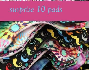 Surprise Print Cotton Pads - 10 Pads - Mama Cloth - Menstrual Pads - Reusable Cotton Pads - CSP - Cloth Sanitary Pads - Made to Order