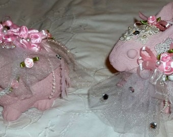 Bunnies, Rabbits, Easter, Pink bunnies, Altered Bunny, Shabby Chic , Embellished,  Easter Bunny,