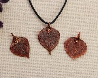 SALE Leaf Necklace, Copper Aspen Leaf, Real Aspen Leaf Necklace, Silver Aspen Leaf, Copper Leaf Pendant, SALE363