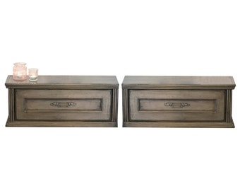 Two Gray Farmhouse Cottage Wall Mount Hanging Drawers Slim Floating Nightstands - Vintage - Driftwood