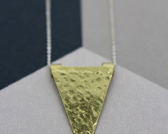gold triangle necklace, geometric necklace, gold brass triangle pendant, hammered gold pendant, geometric jewellery, geometric jewellery,