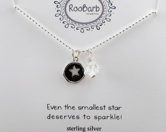 Star Charm & Bead Necklace - Sterling Silver