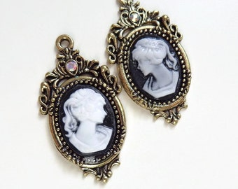 Pair of Black Cameo Pendants - Ornate Antique Brass - Crystal - Victorian - Earring Supply