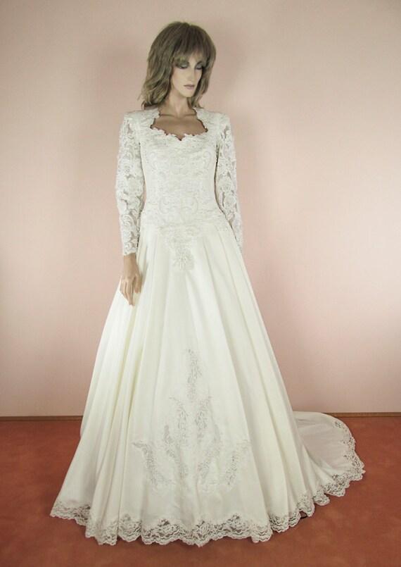 Romantische Hochzeit Kleid 80er Jahre / Brautkleid aus 1980er