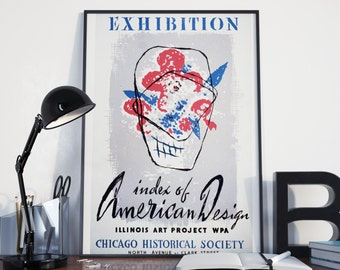 Vintage ART EXHIBITION POSTER -  American Design Index, Chicago Historical Society Art Show: 24x36 Vintage Art Print Reproduction