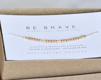 Be Brave Bracelet | Inspiring Gift | Strength Bracelet | Friend Gift | Custom Word Morse Code Jewelry | Mixed Metals Dainty Chain Bracelet