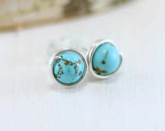 Turquoise Earrings, Sterling Silver Genuine Turquoise Stud Earrings Wire Wrapped Post Earrings December Birthstone Jewelry