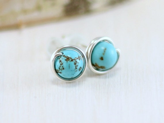 sterling aaa silver genuine pin order green kingman turquoise bezel earrings boho to gypsy blue stud made set