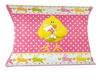 Digital Printable Easter Chick And Butterfly Pillow Box - Easter Treat Box - Easter Party Favor