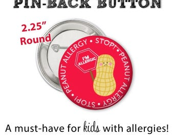 Allergy Alert Button • Peanut Allergy Pin • Allergy Alert • Diaper Bag Pin • Peanut Allergy Button • Allergy Warning Button