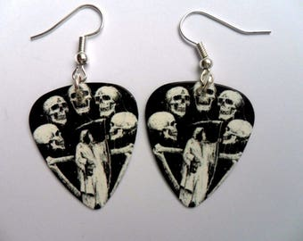 Handmade   GRIM REAPER & SKULLS Guitar Pick // Plectrum Earrings