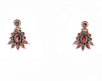 Sterling Garnet Drop Earrings
