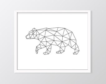 Geometric Bear Print, Geometric Bear Printable, Origami Bear Art, Origami Art, Low Poly Bear, Bear Print, Black and White