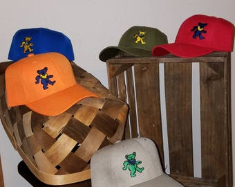 Embroidered BallCaps with Dancing Bears multi colored OOAK