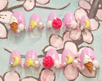 Kawaii nail, Japanese 3D nail, sweet lolita, lolita accessory, pink, ice cream, moon, rose, stars, sailor moon, deco nails, fairy kei