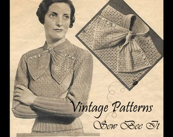 1920's Mother Knitting Pattern Women's Bow Neck Sweater Jumper PDF Bust 34""