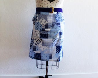 Plus Size - Vintage Blue Faux Quilted A-Line Skirt (Size 14)