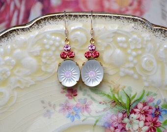 Pink & clear crystal drop earrings - Vintage glass beads - Gold filled Jewellery - Art nouveau style