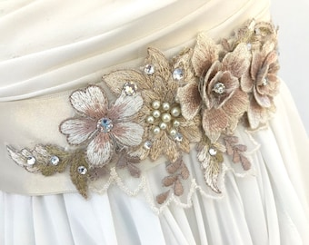 Floral Lace Bridal Sash / Wedding Sash /  Pale Champagne /  Blush /  Swarovski Crystals / Wedding Dress Sash / Flower Sash