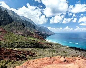 Pacific Paradise   Ocean, Coast, Remote Beach, Rocks, Mountains, Azure Blue Sky, Water, Green, Fine Art Photo, polychromatophil, Hawaii
