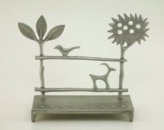 Trees Menorah by Shraga Landesman, Judaica, chanukah, hanukkah, Aluminum cast