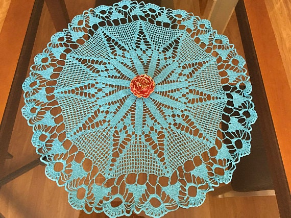 Handmade Blue Doily Crochet Vintage Antique Large Cotton Tablecloth Decoration Doilies Wedding Round Centerpiece Crocheted lace Gift for Mom