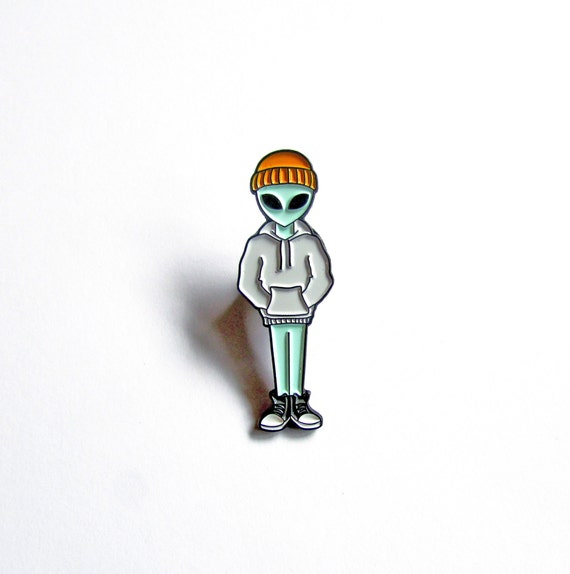 Alien Incognito Soft Enamel Pin   Tommyboydesign {Cool Lapel Pin Badge Alien Beanie Hat Illustration Art Jewelry Backpack Aesthetic Tumblr} by Etsy