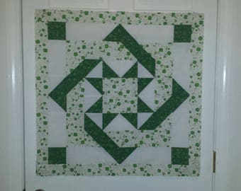 Quilted wall hanging top, St. Patrick's day wall hanging top, Pre designed wall hanging top, Ready to quilt.