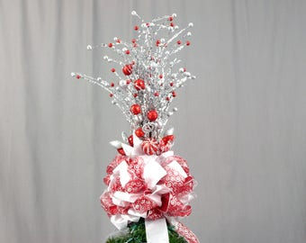 Christmas Tree Topper, Silver and Red Tree Topper Bow, Christmas Decoration