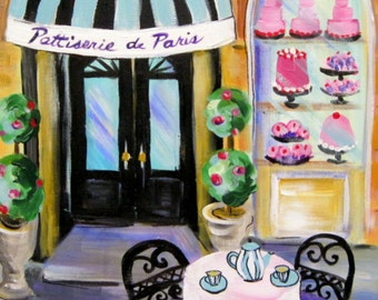 French Bakery Original Painting 16 x 20 Ary by Elaine Cory