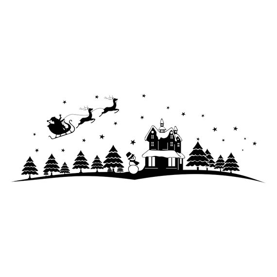 Christmas Scenery Santa Claus Graphics Svg Dxf Eps Png Cdr Ai