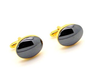Hematite Oval Cufflinks - Hematite Cufflinks - Men's Gray Cuff Links  Oval 15x20mm Gold