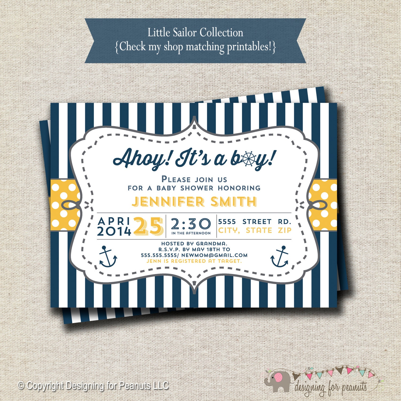 Nautical Sailor Baby Shower Invitation navy and yellow
