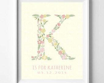 Nursery Decor, Bedroom Decor, For Baby Room, Children Room Art, Children Room Prints, Kayla, Kimberly, Katherine, Mothers Day Gift
