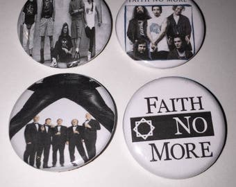 Set of 4 Faith No More Buttons sized at 1.25 inches - Epic Midlife Crisis - San Francisco Rock Band The Real Thing Angel Dust