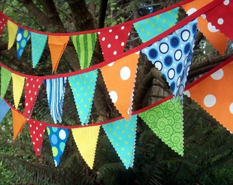 Circus Bunting Fabric Party Flags size small bunting banner circus theme decoration
