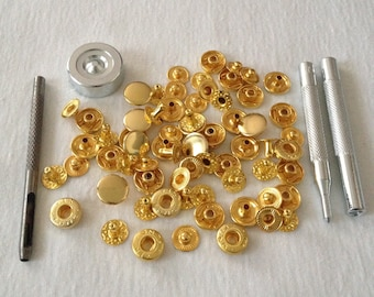 Lot 50 round gold metal snap buttons 12mm + sewing leather Leather haberdashery diy clothing wholesaler snap fastener installation tools