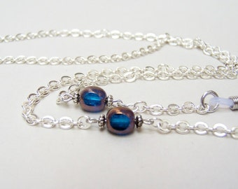 Silver Chain for Glasses, Sky Blue Glass Bead, Silver Glasses Leash, Eyeglass Chain, Eyeglass Holder, Reading Glass Chain, by Eyewearglamour