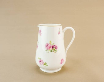 Elegant Antique Pottery Oil Roses Pink JUG Medium Victorian Service Juice Serving English Circa 1900
