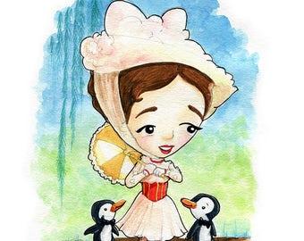 Mary Poppins Fan Art Watercolor print