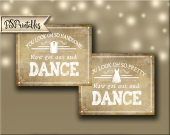 Chalkboard style Get Out and Dance Bathroom Signs - DIY Printable - Vintage Heart Collection