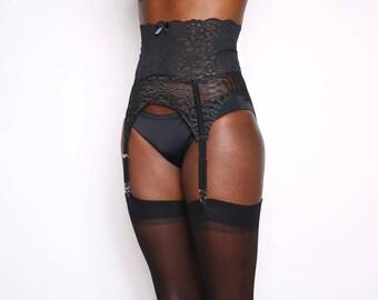 Black Lace High Rise Garter Belt - Standard or Suspender Clip