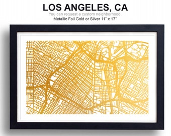 Los Angeles Street Map - Foil Print - 5 Sizes Available - Foil Map, City Map, Gift for Traveler, Wedding Present, Map Print