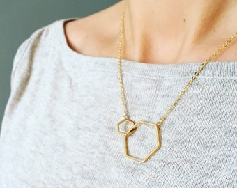 Gold geometric linked hexagon necklace