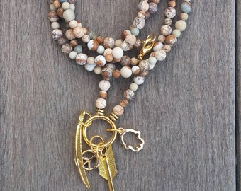 long beaded necklace, Gold plated brass pendant, sand colors, Jasper stone beads,