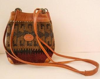 Vintage Kilim Carpet Purse with Leather Trim and Shoulder Strap - Small Boho Bucket Bag