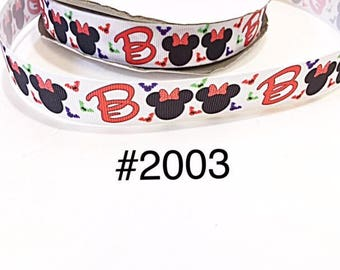 "3 or 5 yard - 7/8"" Halloween Minnie Mouse BOO with Bat on white Grosgrain Ribbon Hair bow Craft Supply"